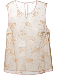 Mary Katrantzou Floral Embellished Sleeveless Top Nude And Neutrals