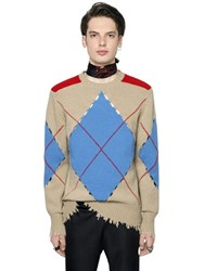 Msgm Argyle Distressed Wool Knit Sweater
