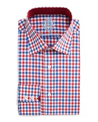 English Laundry Gingham Check Dress Shirt Red Blue