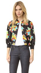 Victoria Beckham Printed Crop Bomber Jacket Fruit Basket Mini