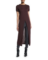 Brunello Cucinelli Short Sleeve Turtleneck Front Slit Tunic Burgundy Red Women's