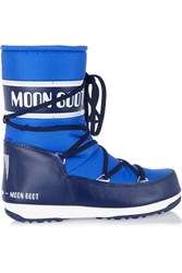 Moon Boot Pique Shell And Faux Leather Snow Boots Blue