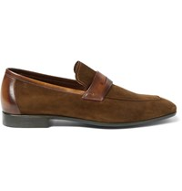 Berluti Lorenzo Venezia Leather Trimmed Suede Loafers Brown