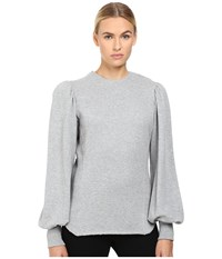 Yohji Yamamoto Smocked Sleeve Balloon Sleeve Top Grey Women's Long Sleeve Pullover Gray