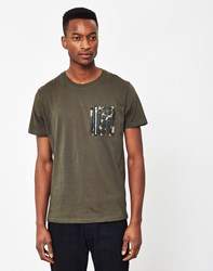 The Idle Man Crew Neck T Shirt With Camo Pocket Green