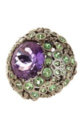 Stephen Dweck Amethyst And Chrome Diopside Ring Size 6 Metallic