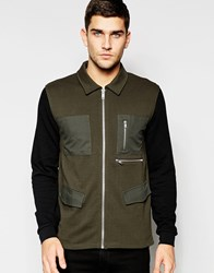 Asos Military Jersey Jacket With Woven Pockets In Khaki Khaki Green