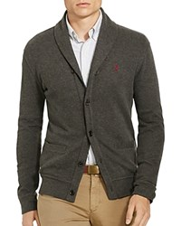 Polo Ralph Lauren Ribbed Cotton Shawl Collar Cardigan Sweater Bristol Heather