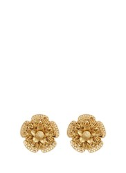 Miriam Haskell Filigree Pansy Flower Stud Clip Earrings Metallic