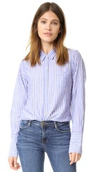 Nili Lotan Stripe Poplin Nl Shirt Blue Red