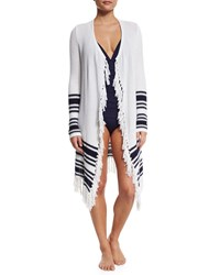 Tommy Bahama Open Cardigan Coverup With Tassel Trim White Mare