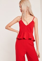 Missguided Petite Strappy Peplum Top Red Red