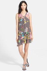 Zadig And Voltaire Rory Printed Ruffle Crepe Dress Gray