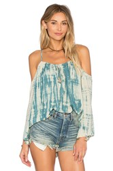 Blue Life Open Shoulder Top Blue