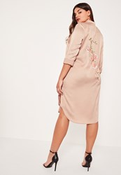 Missguided Plus Size Nude Embroidered Back Shirt Dress
