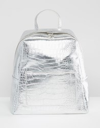 Asos Croc Square Backpack Silver