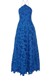 Badgley Mischka Floral Lace Gown Royal Blue