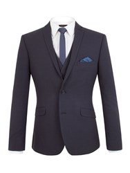Limehaus Oliver Tonal Check Slim Fit Suit Jacket Navy