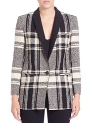 Laveer Plaid Boyfriend Blazer Black Buff