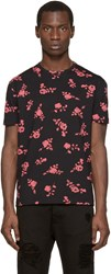 Versus Black And Pink Floral T Shirt