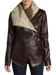 Saks Fifth Avenue Faux Shearling Draped Jacket Brown