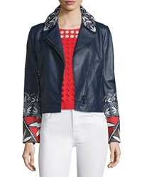 Tory Burch Pottery Embroidered Leather Moto Jacket Tory Navy Women's