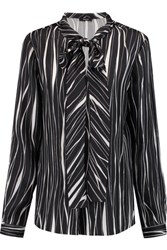 Raoul Flora Pussy Bow Printed Silk Satin Blouse Black