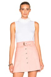 See By Chloe Sleeveless Ruffle Neck Top In White