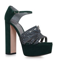 Gina Juniper Jewelled Platform Heels Female Green