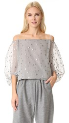 Vika Gazinskaya Off Shoulder Polka Dot Top Grey Silver