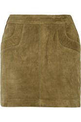 Maje Jayeon Suede Mini Skirt Army Green
