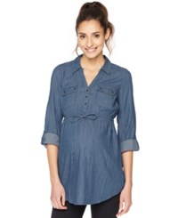 Motherhood Maternity Roll Sleeve Blouse Blue