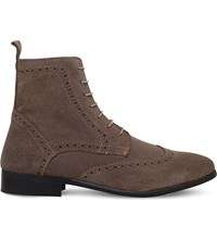 Kg By Kurt Geiger Howarth Suede Ankle Boots Taupe Comb