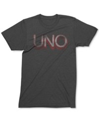 Mighty Fine Men's Uno Logo Graphic Print T Shirt Charcoal Heather