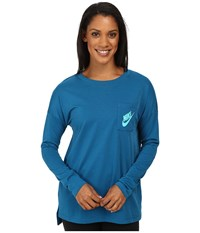 Nike Signals Long Sleeve Tee Green Abyss Hyper Jade Women's Long Sleeve Pullover Blue