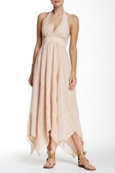 Champagne And Strawberry Halter Maxi Dress Pink