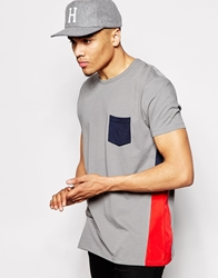 Asos T Shirt With Contrast Side Panel And Relaxed Skater Fit Grey