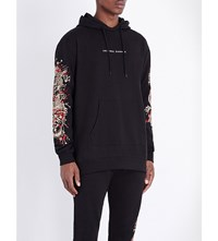 Criminal Damage Fire Dragon Embroidered Cotton Jersey Hoody Black