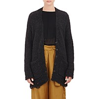 Raquel Allegra Women's Distressed Boyfriend Cardigan Black