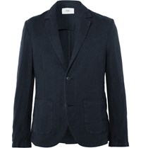 Folk Navy Slim Fit Linen And Cotton Blend Blazer Blue