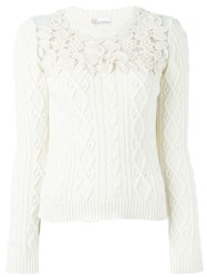 Red Valentino Lace Detail Jumper White