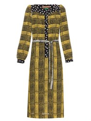 Doru Olowu Harlem Deco Print Crepe Dress Yellow Multi