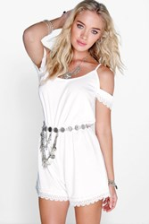 Boohoo Open Shoulder Crochet Trim Playsuit Ivory