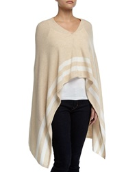 Minnie Rose Cashmere Striped Snap Front Poncho Sand Whit