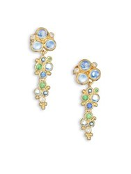 Temple St. Clair Mare Diamond Royal Blue Moonstone Blue Sapphire Tsavorite And 18K Yellow Gold Drop Earrings Gold Multi