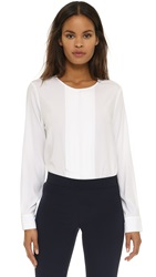 Dkny Long Sleeve Back Zip Pleated Front Blouse White