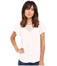 Rebecca Taylor Stained Glass Lace Short Sleeve Top Pale Blush Women's Short Sleeve Pullover Gray