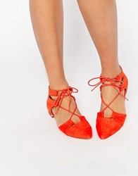 Asos Let's Play Pointed Lace Up Ballet Flats Red