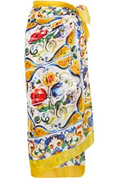 Dolce And Gabbana Printed Cotton Pareo Pastel Yellow