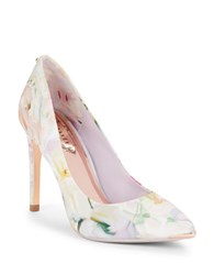 Ted Baker Neevo Floral Point Toe Pumps White Multi